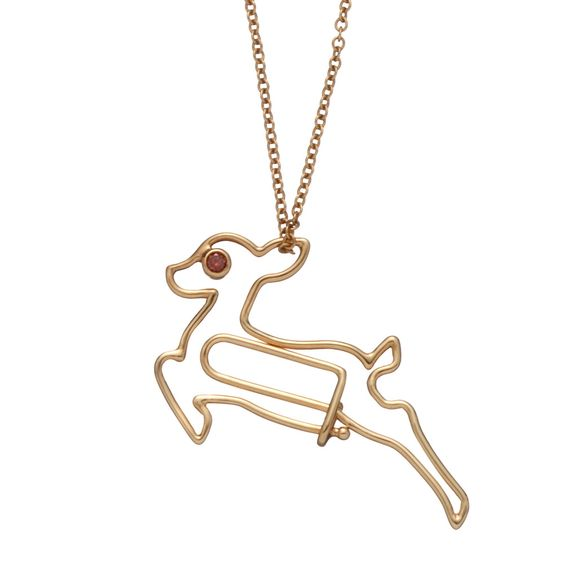 The Hillier fine jewellery collection of unique animal pendant paperclips are 18ct Gold wire twists shaped into darling, playful woodland creatures. Bambi with a pink diamond eye.