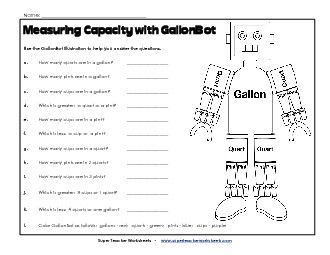 W13, GallonBot Capacity Worksheets (Gallons, Quarts, Pints, and ...
