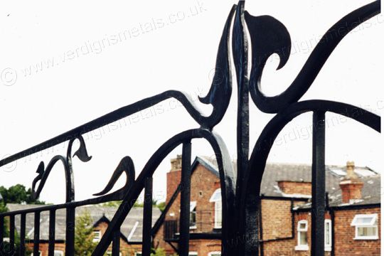 B5: Contemporary Forged Steel Art Nouveau Balustrade