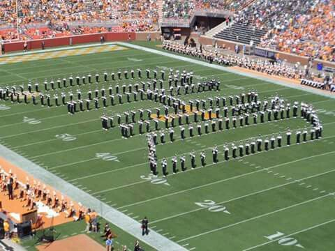 Marching 110 performs at halftime in Tennessee's Neyland Stadium. 9/17/16 (Art Rossin photo)