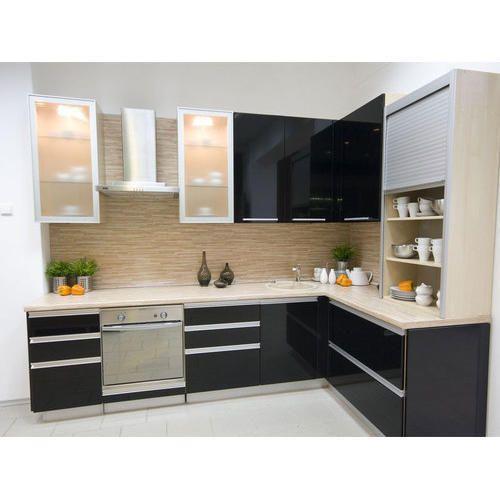 Modular Kitchen Design Designer L Shaped Modular Kitchen At Rs Modern Black Kitchen Modern Kitchen Cabinet Design Stylish Kitchen Design