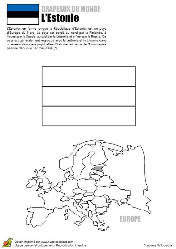 Le drapeau en bleu, noir, blanc de l'Estonie à colorier