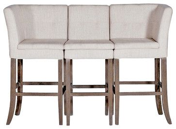 Cooper Conrad Tufted Linen Square Linen 3 Seat Bench Bar Stool - bar stools and counter stools - Kathy Kuo Home
