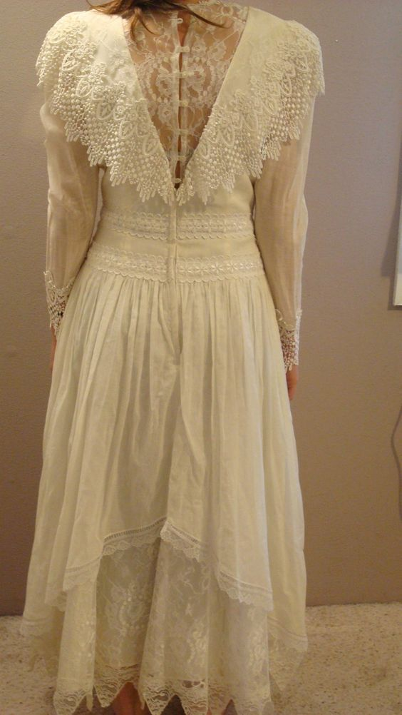 Jessica McClintock Lace Dress Wedding Formal Colonial Pioneer ...
