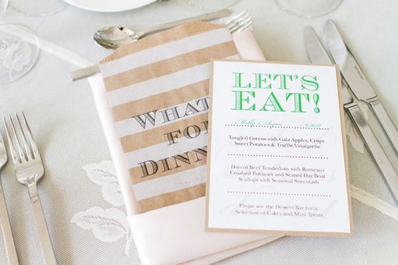 """Love this ~ """"What's for Dinner?"""" paper bag - with menu tucked inside ;) Photography by inphotography.net"""