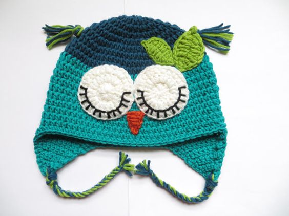 Forest owl hat Crochet blue turquoise owl hat Baby girl turquoise owl hat Baby boy owl hat Adult owl hat Toddler owl hat Merino wool owl hat