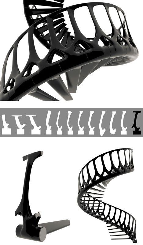 Escalier vertèbre - http://www.2tout2rien.fr/escalier-vertebre/