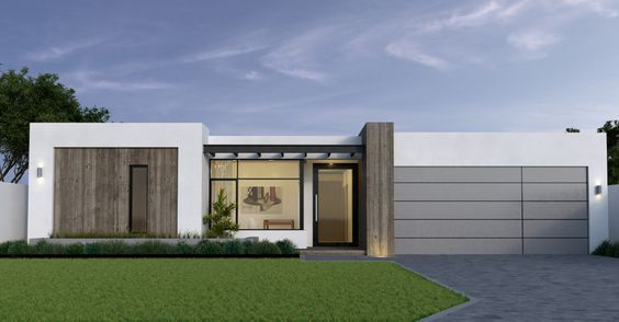 Modern House Elevation Single Story 34 45east Facing Google Search Modern House Facades Flat Roof House Designs Facade House