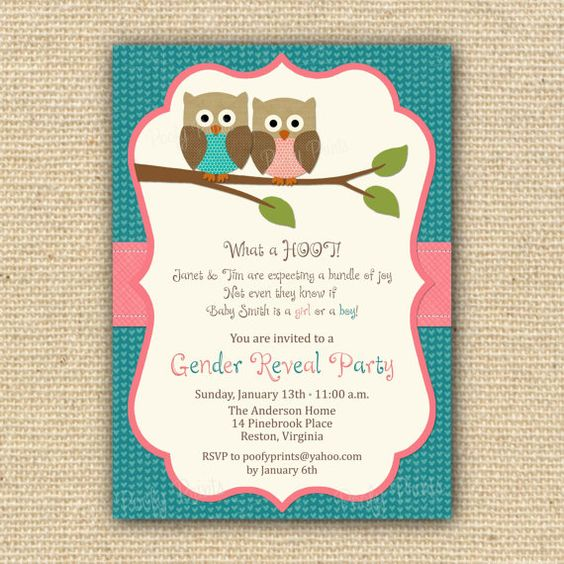 Owl theme gender reveal: Baby Parties, Owl Baby Showers, Baby Reveal, Party Invitations, Baby Ideas, Michi Babyshower, Owl Theme, Invitations Owl, Gender Reveal Invitations
