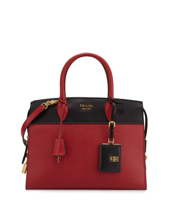 Prada Esplanade Medium Bicolor City Satchel Bag: