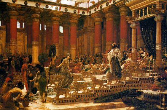 """""""La visita de la reina de Saba al rey Salomón"""" - (1809)  Sir Edward John Poynter 1836 – 1919)    fue un pintor inglés figurativo Es famoso por sus cuadros de temática mitológica e histórica."""
