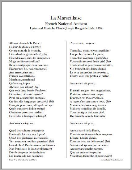 La Marseillaise French National Anthem Lyric And Translation How To Speak Lyrics Essay With English