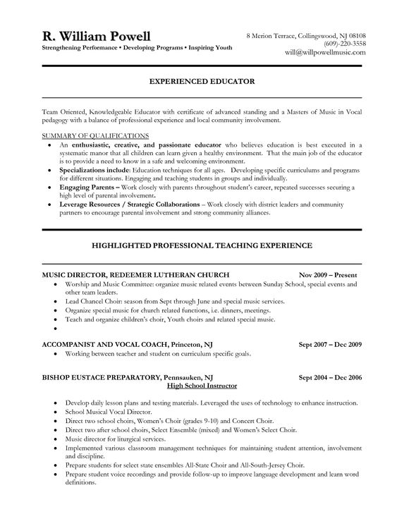 1000+ images about teacher resumes on Pinterest Secondary - sunday school teacher resume