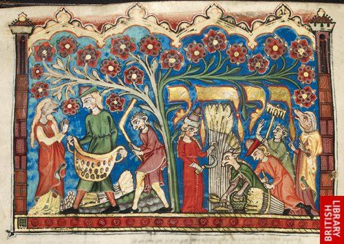 Detail: historiated initial-word panel of the story of Ruth with Ruth, Naomi and Boaz and his servants working of the field, at the beginning of the Book of Ruth to be read at Shavuot, Additional 22413, Fol 71, c 1322, near Lake Constance