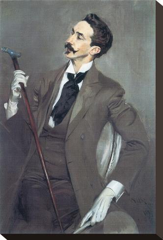 Stretched Canvas Print: Portrait of Robert de Montesquiou Canvas Print by Giovanni Boldini : 15x10in