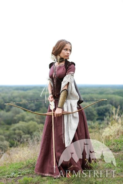 Robe médiévale de lin « Archère » avec tunique et corset d'ArmStreet