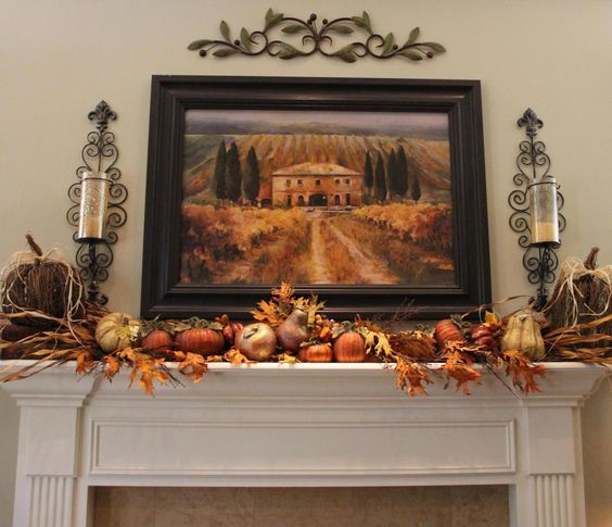 Living Room Fall Mantle - traditional - living room - seattle - Savvy Seasons