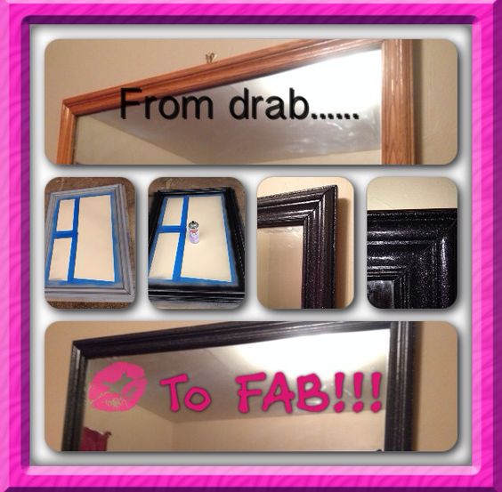 DIY glitter mirror.......Had to add some sparkle to it!!!!
