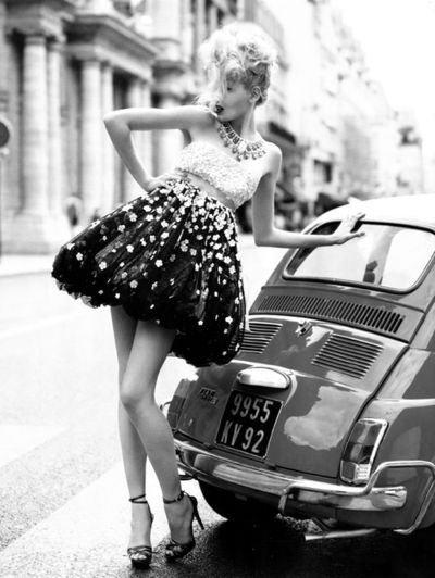 black and white photo, vintage, love the dress.