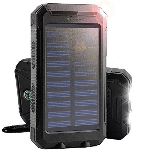 Solar Charger, 8000mAh Rain-Resistant Solar Power Bank, Portable Shockproof…