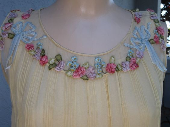 Vintage 1920's Flapper Cornsilk Yellow Silk Chiffon and Lace Dress Covered With Silk Ribbonwork Roses and Bows Wedding Bridal Gatsby. $995.00, via Etsy.
