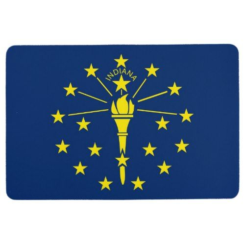 Patriotic Floor Mat With Flag Of Indiana Usa Zazzle Com Indiana State Flag Flag State Flags