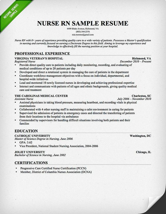 or nurse resume sample resume for registered nurse with experience