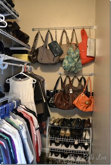 If you're tired of having your purses fall all over themselves on a shelf and not being able to see all of them, here's a $5 purse storage solution!
