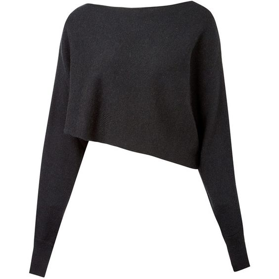 Crea Concept Black Asymmetric Crop Alpaca-Blend Jumper (£140) ❤ liked on Polyvore featuring tops, sweaters, shirts, cropped sweater, long sleeve crop top, cuff shirts, black jumper and crop shirts