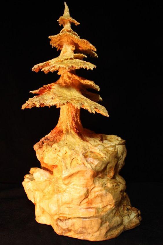 Wood carving tree bear rustic log cabin by