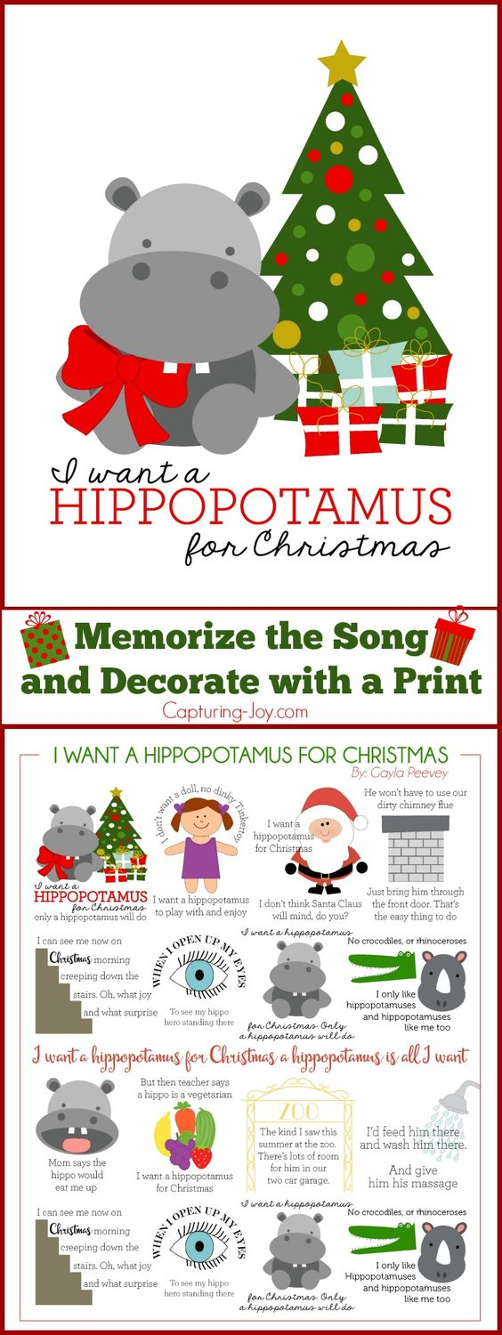 I Want A Hippopotamus For Christmas FREE Printable Day 3 of The 12 ...