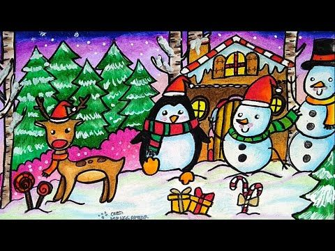 Cara Menggambar Dan Mewarnai Tema Suasana Natal Boneka Salju
