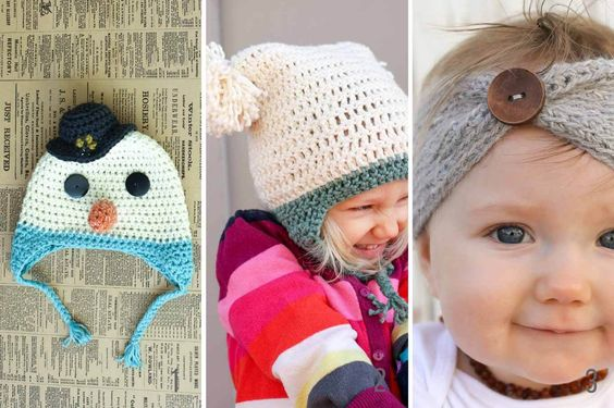 Free winter crochet patterns for kids and adults. Hats and headbands galore!