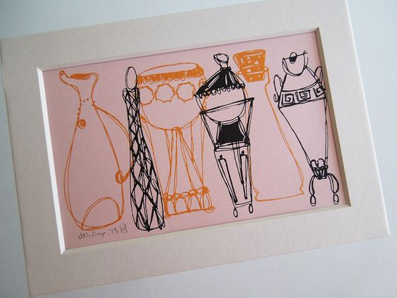 FANCY BOTTLES | a Fifties style vases retro silkscreen print with mat in pink gold and gray by Kathryn DiLego by hhop on Etsy https://www.etsy.com/listing/161139539/fancy-bottles-a-fifties-style-vases
