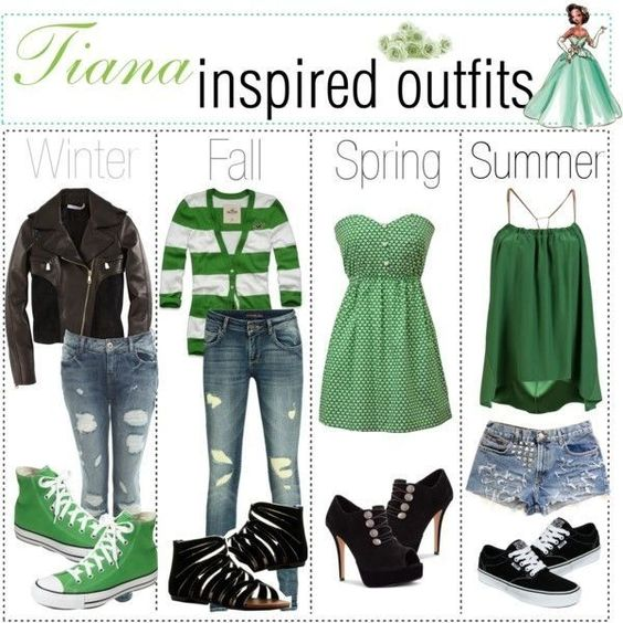 Tiana inspired outfits for the seasons