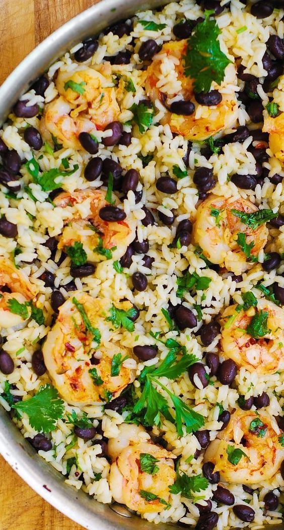 Cilantro-Lime and Black Beans Shrimp and Rice