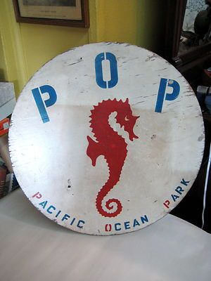 OLD VINTAGE WOOD SIGN POP PACIFIC OCEAN PARK SANTA MONICA PIER LOS ANGELES 20'S