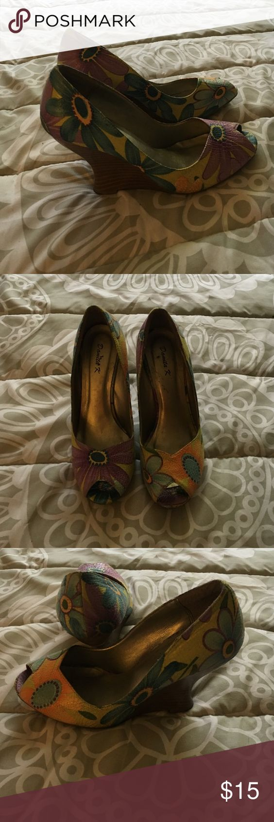 Floral Peep Toe Wedges Spunky floral wedges. Worn a few times. Danita K Shoes Wedges