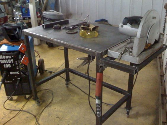 Welding table with flush mount chopsaw garage for Plan fabrication table
