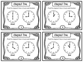 elapsed time task cards free a 2nd 3rd grade tips lessons pinterest telling time. Black Bedroom Furniture Sets. Home Design Ideas