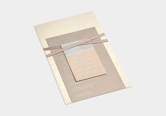 Nudes & Neutral Wedding Invitation / Silver Foil / Brush Stroke Details / Abstract Florals / Bliss & Bone