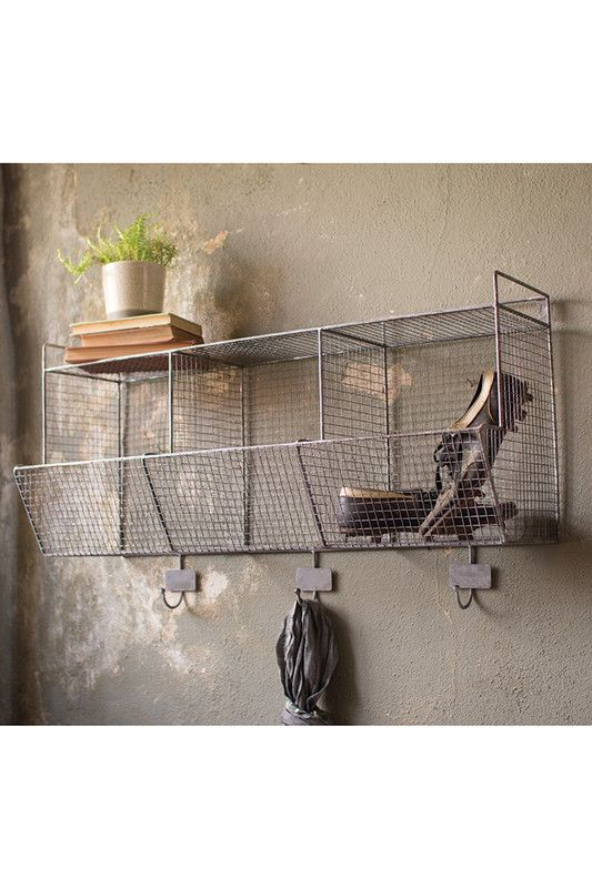 wire wall storage baskets with coat hooks perfect for organizing your laundry room closet or. Black Bedroom Furniture Sets. Home Design Ideas