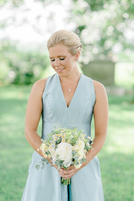Pretty pale blue bridesmaid look: http://www.stylemepretty.com/little-black-book-blog/2015/08/24/historic-and-intimate-new-jersey-barn-wedding/   Photography: Rachel Pearlman - http://www.rachelpearlmanphotography.com/#!/home