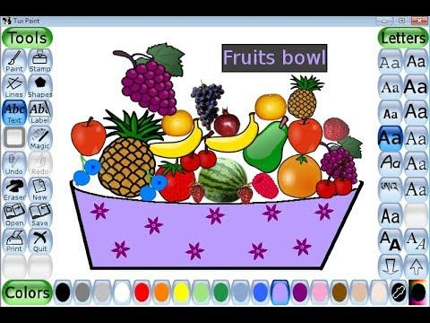 How To Draw Fruit Bowl In Tux Paint Tuxpaint Tuxpaint Tutorial Tuxpaintstamps Youtube Fruits Drawing Tux Paint Painting
