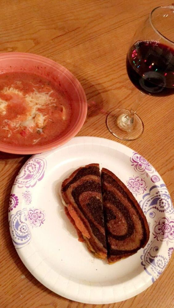 Homemade tortellini soup grilled cheese with sharp cheddar and havarti on marbled rye and a glass of red wine #tonightsdinner #nofilter #homemade #yummy #veggie #topchefs