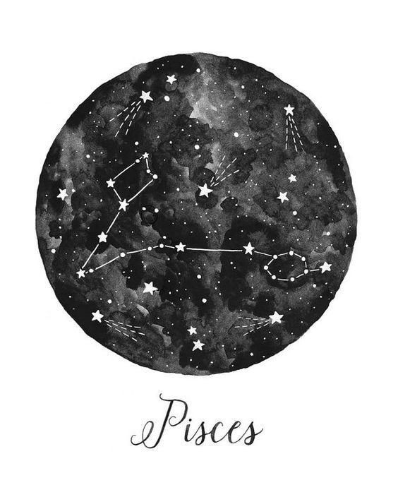 Pisces Constellation Illustration Vertical por fercute en Etsy