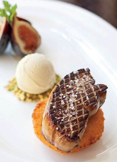 duck foie gras with polenta pistachio ice cream and figs. Black Bedroom Furniture Sets. Home Design Ideas