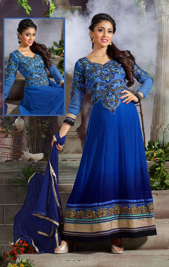 Shriya Saran in Majestic Blue Anarkali