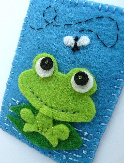 #Felt, #Fieltro felt frog case, funda de fieltro de rana