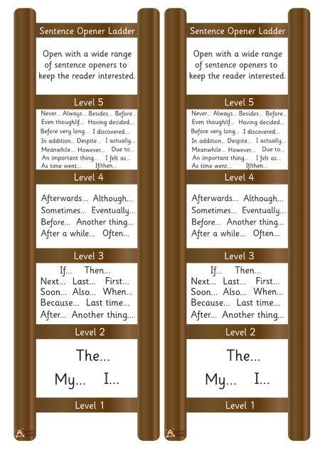 Teacheru0027s Pet Displays » Mini Sentence Opener Ladder » FREE - ladders resume